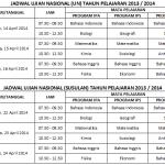 Jadwal UN dan US Tahun Pelajaran 2013-2014